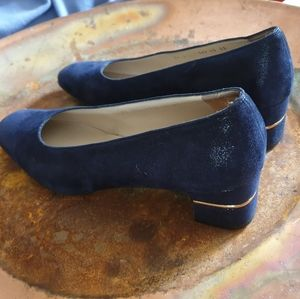 Salvatore Ferragamo Blue Suede Shoes with Gold